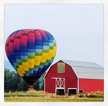 Vintage barn great for hot air balloon ride landing