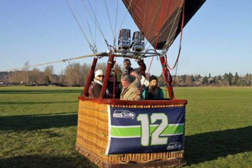 Hot air balloon basket with Seahawks flag