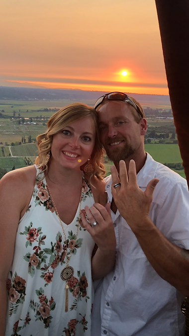 Hot air balloon ride on board wedding vows beautifulsunsetballoon ride over Snohomish