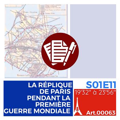 WS-S01E11A00063 PENDENTIF LA RÉPLIQUE DE PARIS LA PREMIÈRE GUERRE MONDIALE