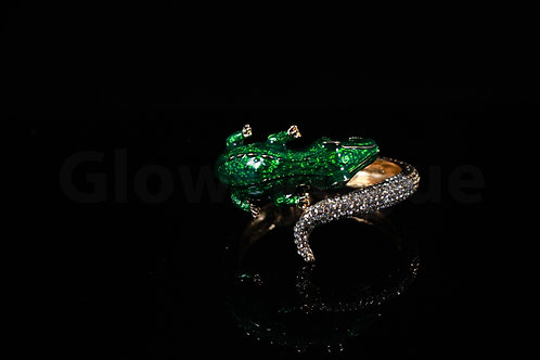 Green Crystal Crocodile Bangle