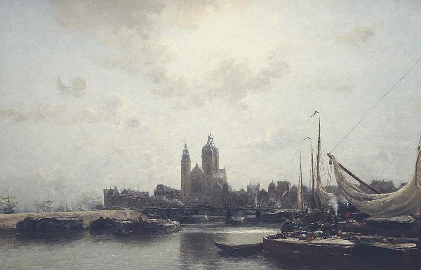 Amsterdams havengezicht met de St. Nicolaaskerk