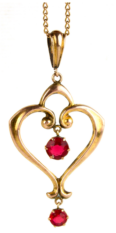 Art Nouveau 9ct Gold Pendent With Two Drop Garnets, on 9ct Chain