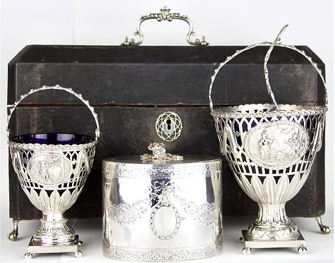 Rare Set of Silver Tea Caddy Cream and Sugar Baskets