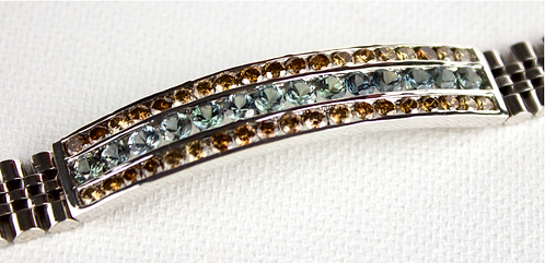 18ct White Gold Bracelet With 14 Grey / Blue Sapphires