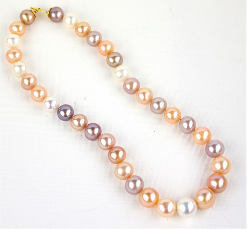Large Multicolour Pearls with 18ct Gold Clasp