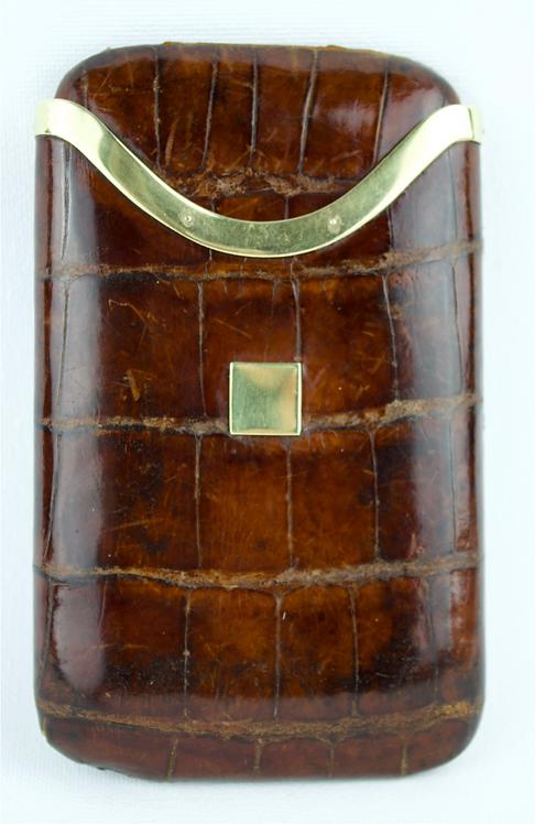 Asprey 18ct Gold Crocodile Skin Cigar Case