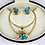 Thumbnail: Blue Topaz Necklace and Earrings Set In 14ct Gold.