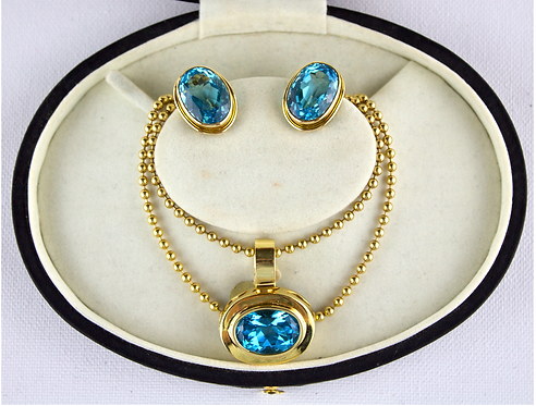Blue Topaz Necklace and Earrings Set In 14ct Gold.