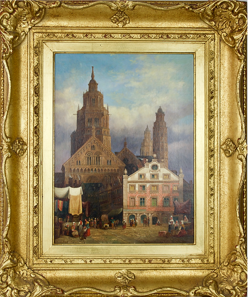 Henry Schafer Oil on Canvas of St Martins Cathedral, Germany