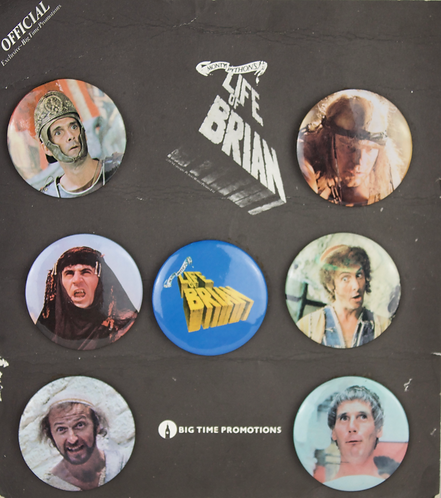 Very Rare Complete Set of Monty Python, The Life of Brian Badges