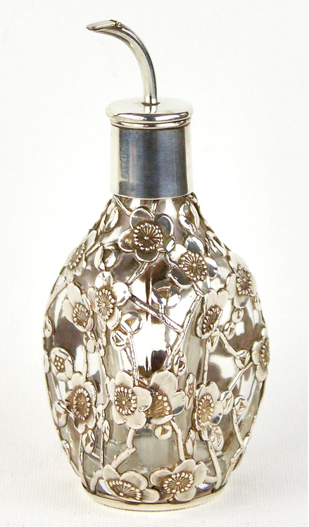 c.1910 Chinese Silver and Glass Perfume Bottle
