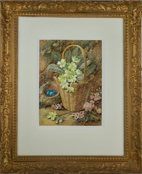 Vincent Clare - Still Life of Primulas in a Basket on a Mossy Bank (1855-1930)