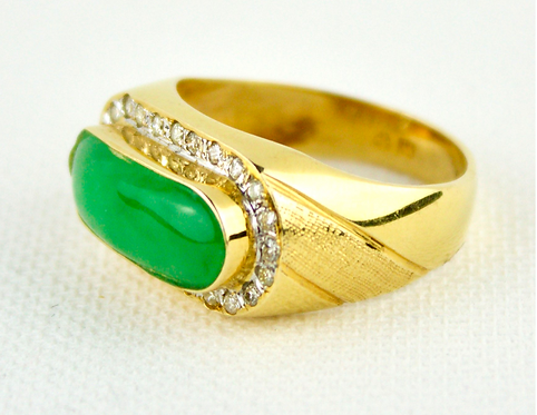 18ct Gold Chinese Jadeite Saddle Ring