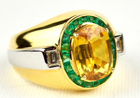 18ct Gold Yellow and White Gold Ring