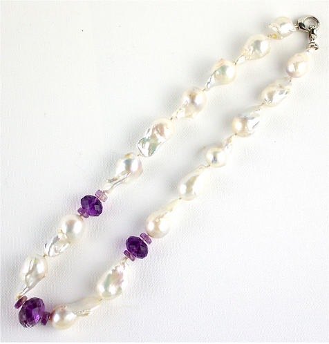 White Barque Pearls With Diamond cut Amethyst