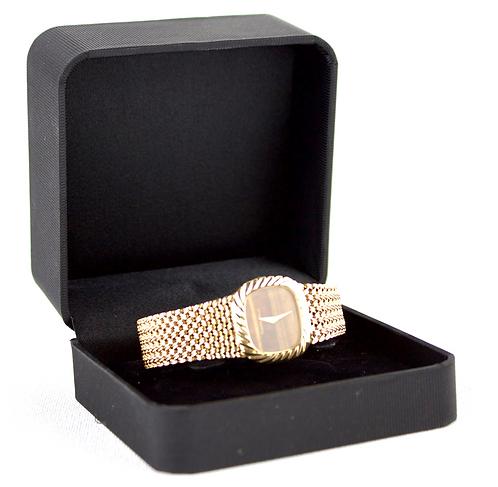 Buechc Girod Tigers Eye 9ct Gold Lady's Bracelet Watch