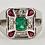 Thumbnail: 18ct White Gold Ring With Columbian Emerald Corner Rubies