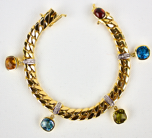18ct Gold Gem Set Bracelet With Four Diamond Panel
