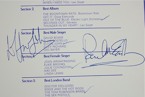 Paul McCartney and Elton John Signed Music Awards Invitation and Programme