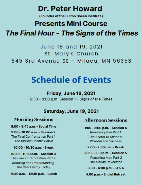 Dr. Peter Howard Schedule of Events for