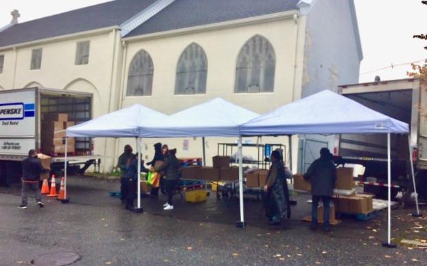 Food distribution at St. Luke's on October 17, 2020.