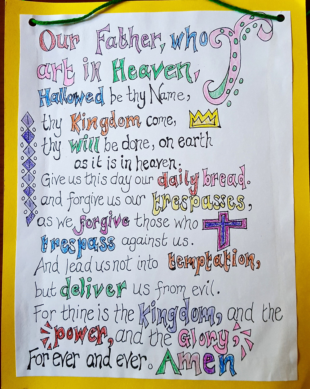The Lord's Prayer as illustrated by the children in the Godly Play classroom.