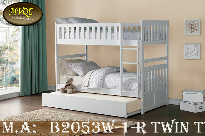 B2053W-1-R twin twin bunkbed with trundl