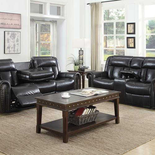 Montreal Furniture Black Living Room Sofa Loveseat Armchair Miller