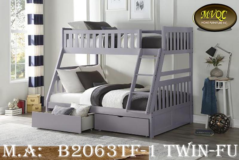 B2063TF-1 Twin-Full bunk w-drawers
