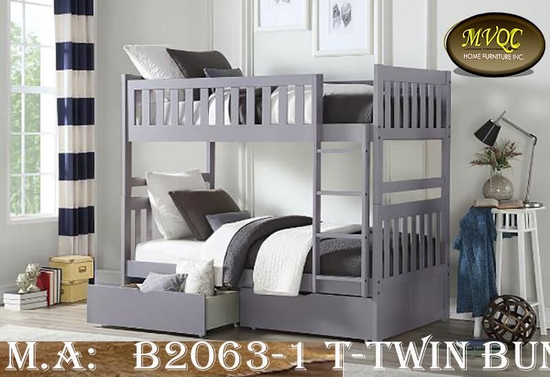B2063-1 T-Twin bunk w-drawers