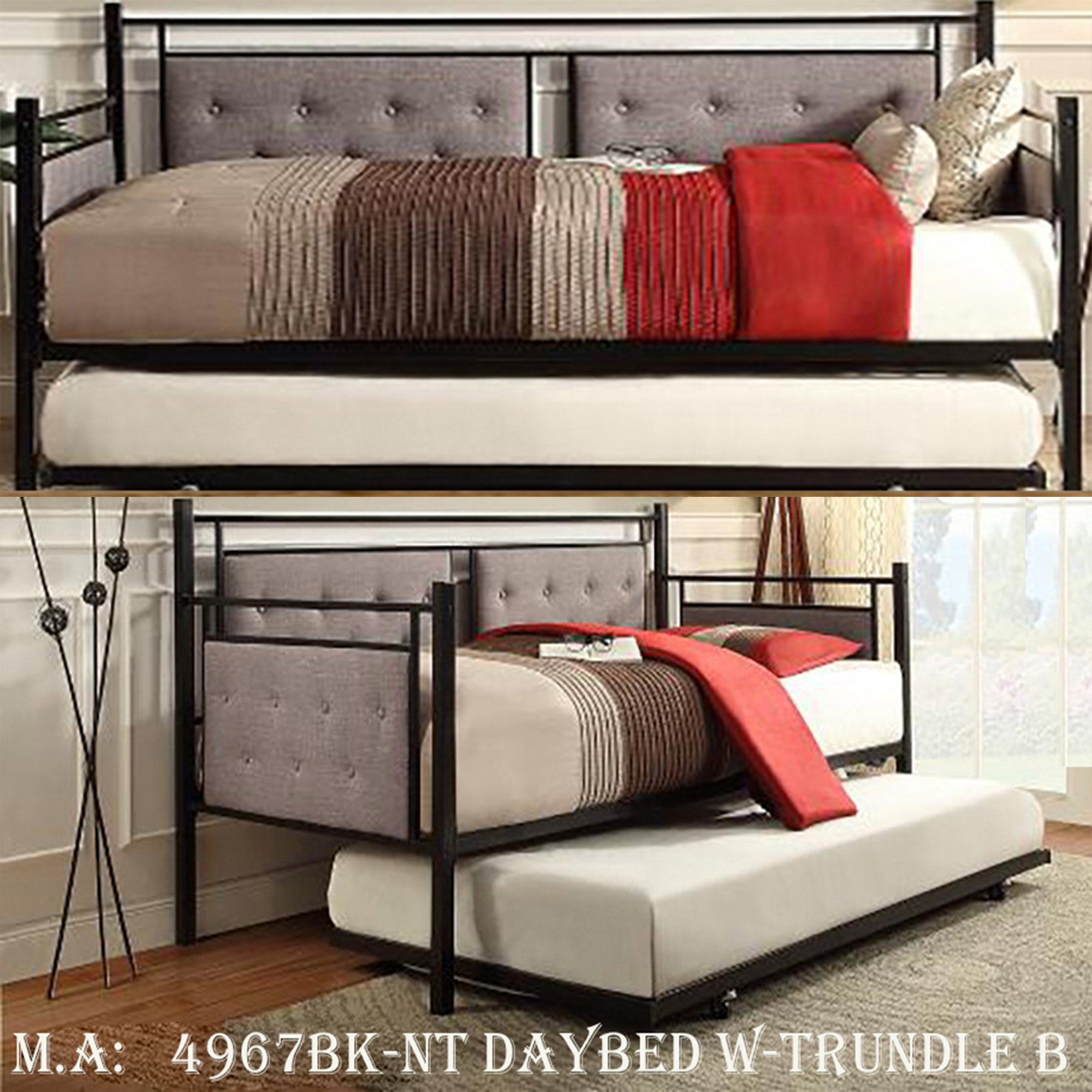 2-4967BK-NT daybed w-trundle b