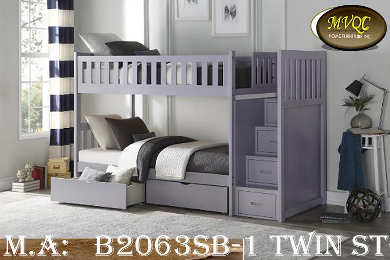 B2063SB-1 twin step bunk w-drawers