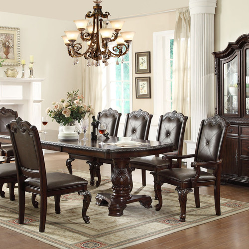 Traditional Dining Room Set Table Leather Chairs Trend