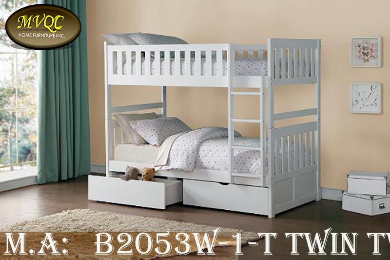 B2053W-1-T twin twin bunkbed with storag