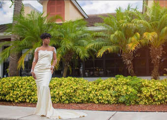 "Deidre - ""Deidream"" Mermaid Wedding Dress with skintone illusion mesh, tattoo lace sleeves."