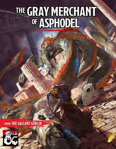 The cover art for The Gray Merchant of Asphodel depicting the Gray Merchant placing clay funeral masks on a slain hydra from the cover of Mythic Odysseys of Theros