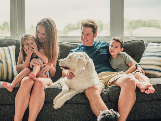 In-Home Lifestyle Family Photography - Featuring the Sweetest Family Dog - Bradenton Photographer