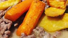 Ahjus röstitud köögiviljad hakklihakastmega (AIP,piima-,gluteenivaba)