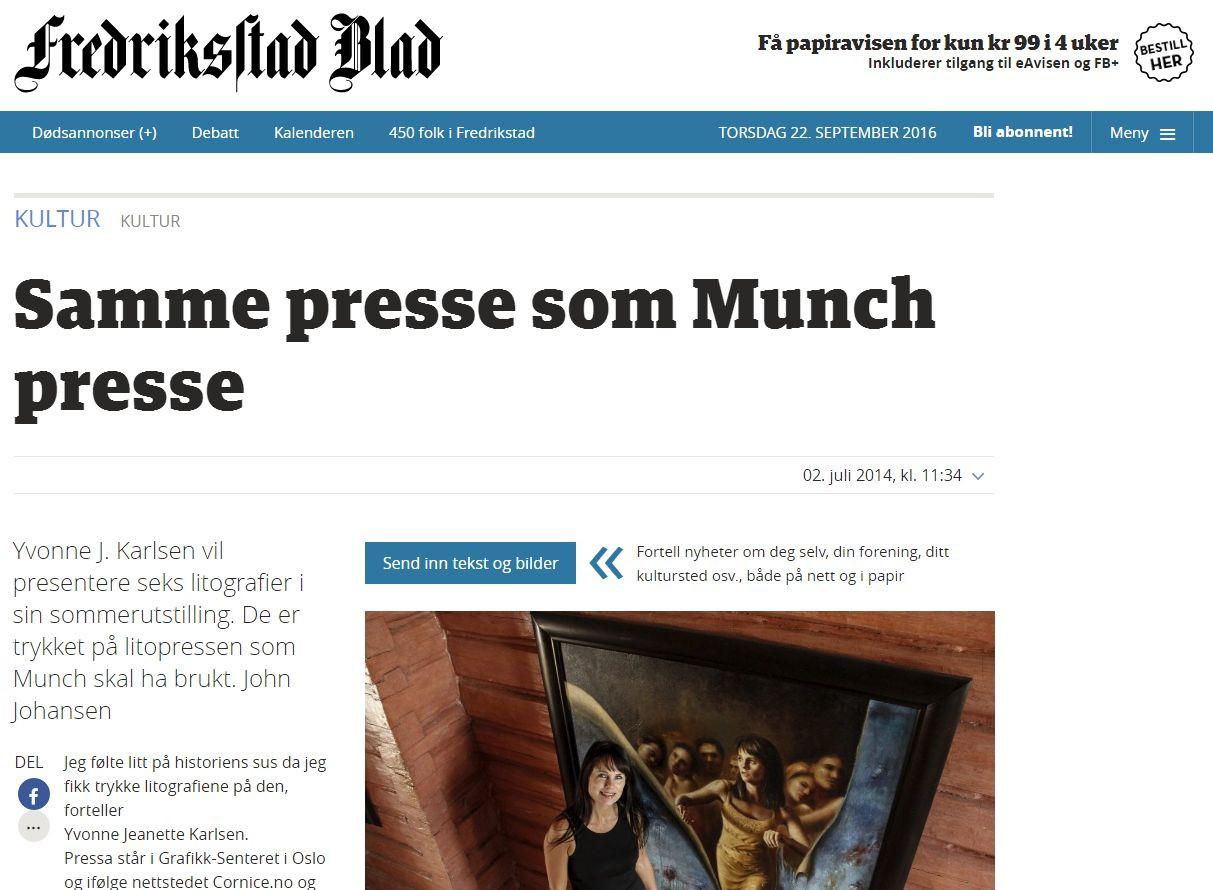 Litografier Samme presse som Munch presse - Fredrikstad Blad