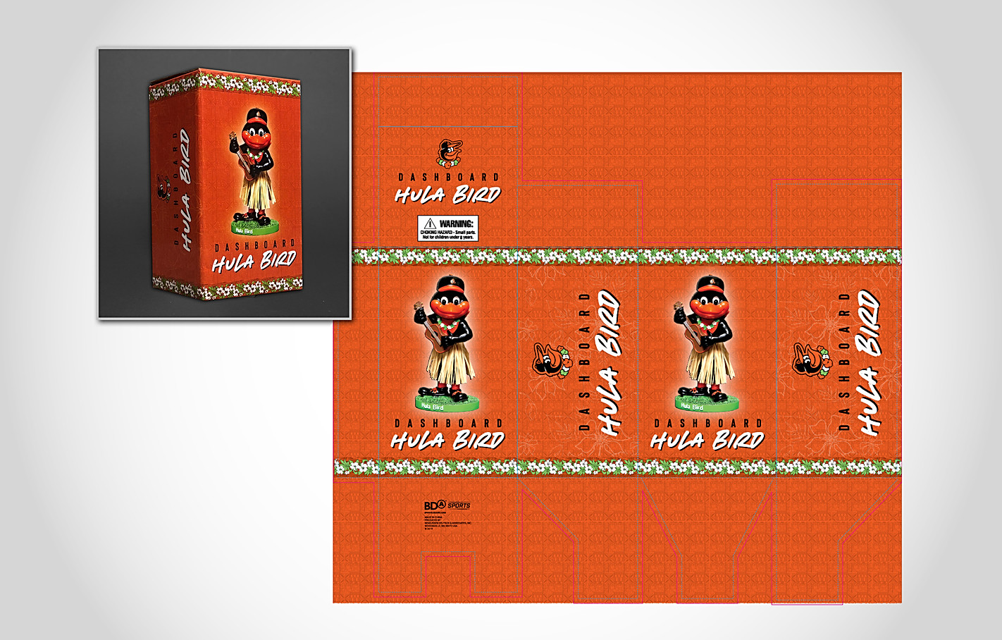 Orioles Hula Bird Packaging