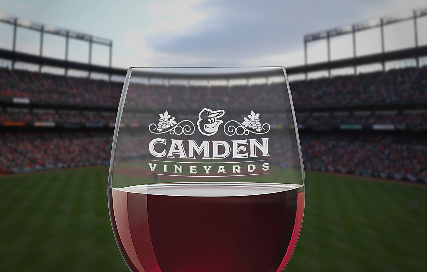 Orioles Camden Vineyards Logo and Wine Glass