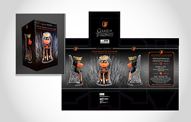 Orioles Game of Thrones Oriole Bird Bobblehead Packaging