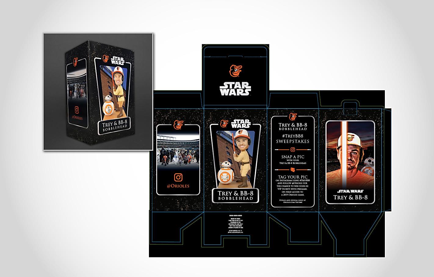Orioles Star Wars Trey & BB-8 Bobblehead Packaging