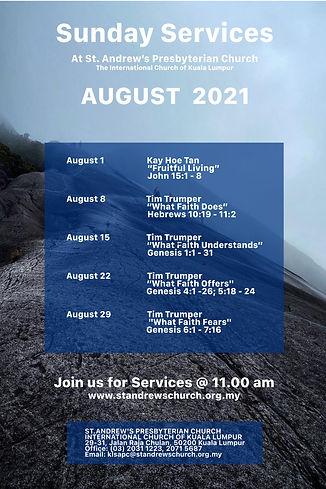 August Sunday service schedule