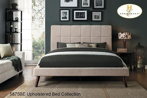 Contemporary Upholstered Bed Collection - Beige