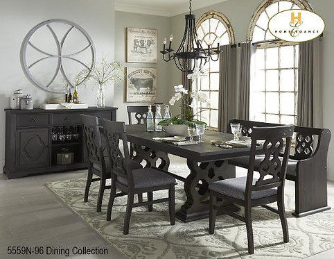 Casual Country Dining Collection Ebony finish Dining Table