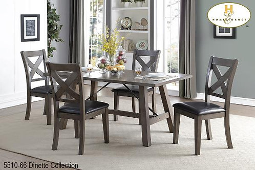 Seaford Collection Grey Fixed Top Dining Table