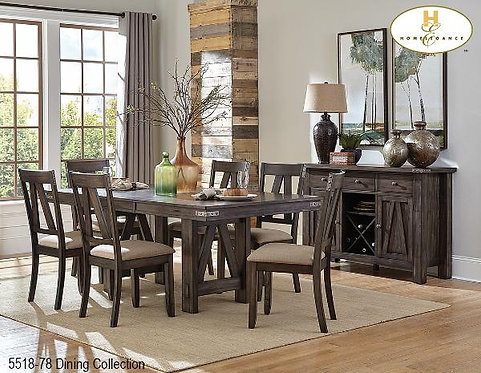 Mattawa Collection Trestle Table with Solid Butterfly Top
