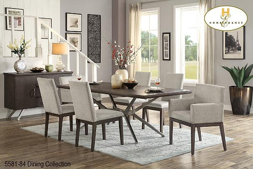 Contemporary Dining Collection Stainless Steel/Pine Dining Table